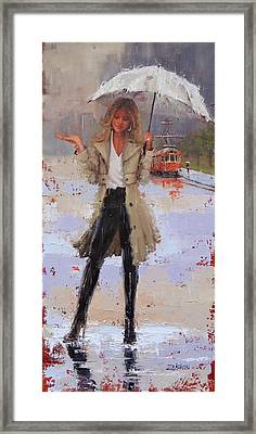 Framed Print featuring the painting Still Raining by Laura Lee Zanghetti