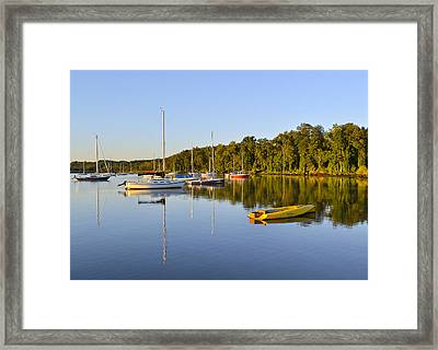 Still Waters On The Potomac River At Belle Haven Marina Virginia Framed Print by Brendan Reals