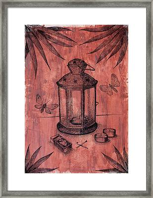 Stillife With Lantern And Night Moths   Framed Print by Victoria Yurkova