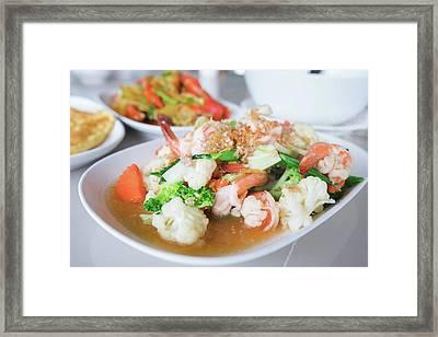 Stir Fried Shrimp Framed Print by Anek Suwannaphoom