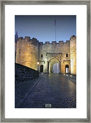 Stirling Castle Scotland In A Misty Night Framed Print by Christine Till