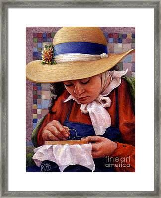 Framed Print featuring the painting Stitch In Time by Jane Bucci