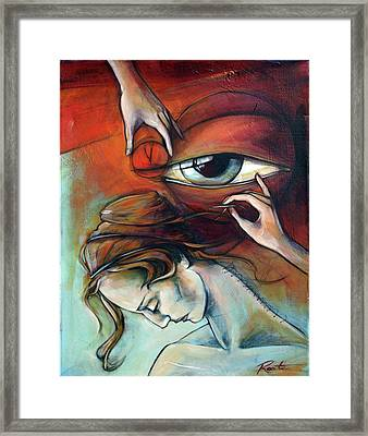 Stitch In Time's Eye Framed Print by Jacque Hudson