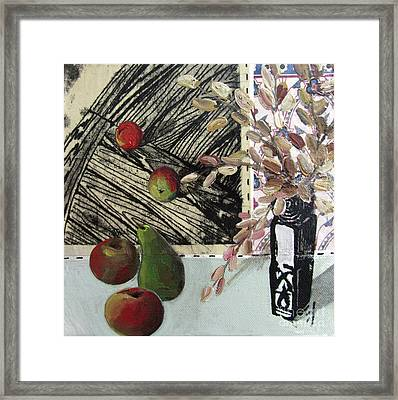 Stll Life With Pear Apples And Vase Framed Print by Peter Allan