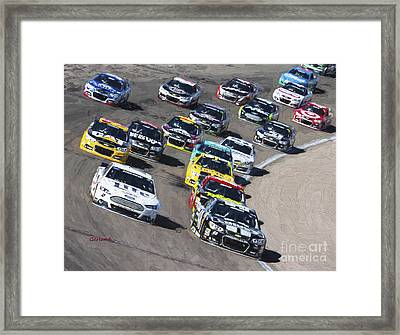 Stock Car Racing In Vegas Framed Print by Garland Johnson