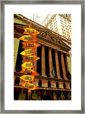 Stock Exchange And Signs Framed Print