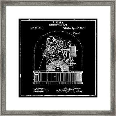 Stock Ticker Patent 1897 Black Framed Print