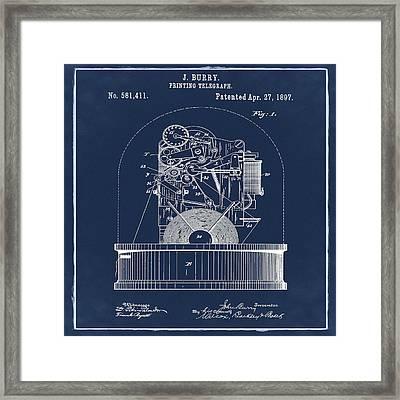 Stock Ticker Patent 1897 Blue Framed Print