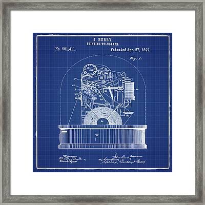 Stock Ticker Patent 1897 Blue Print Framed Print