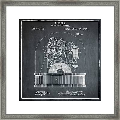 Stock Ticker Patent 1897 Chalk Framed Print by Digital Reproductions