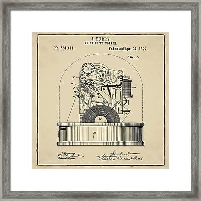 Stock Ticker Patent 1897 Sepia Framed Print