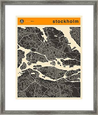 Stockholm Map Framed Print