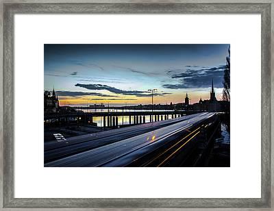 Stockholm Night - Slussen Framed Print by Nicklas Gustafsson