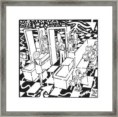 Stom Airport Security Framed Print by Yonatan Frimer Maze Artist