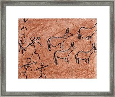 Stone Age Hunt Framed Print