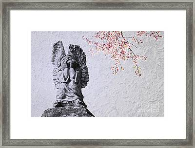 Stone Angel Under Cherry Blossoms Framed Print by Charline Xia