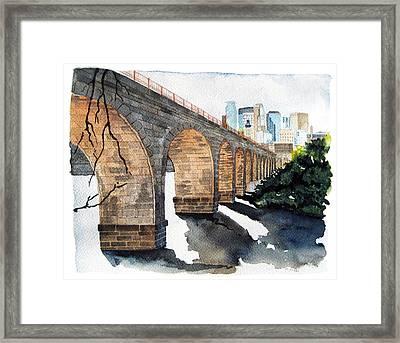 Stone Arch Bridge Watercolor Framed Print