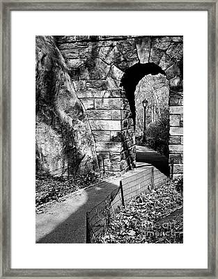 Stone Arch In The Ramble Of Central Park - Bw Framed Print