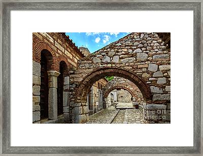 Stone Arches And Walkway At Monastery Of Hosios Loukas In Greece Framed Print