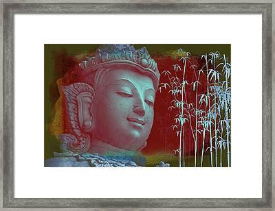 Stone Bamboo Buddha Framed Print