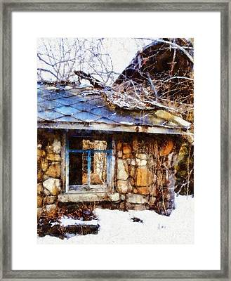 Stone Barn Old Blue Window Framed Print by Janine Riley