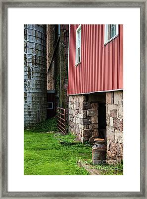 Stone Barn With Milk Can Framed Print