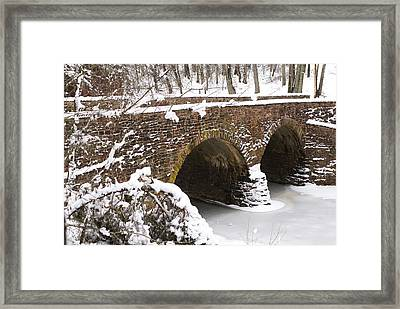 Stone Bridge At Bullrun Virginia Framed Print by Heidi Poulin