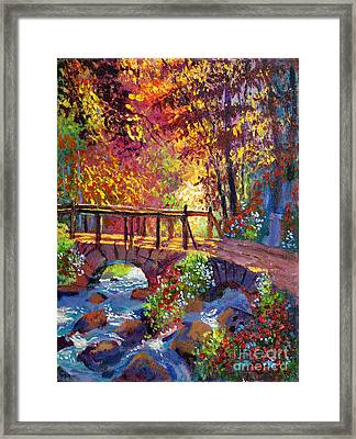 Stone Bridge At Royal Gardens Framed Print by David Lloyd Glover