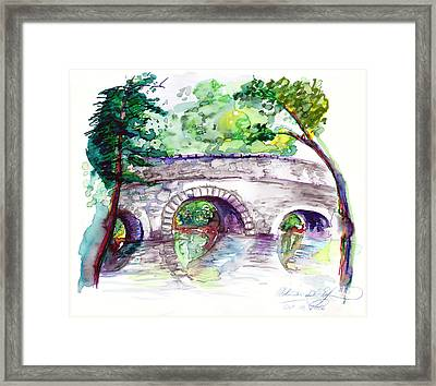 Stone Bridge In Early Autumn Framed Print by Melinda Dare Benfield