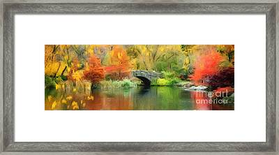 Stone Bridge On An Autumn Day Framed Print by Amy Cicconi