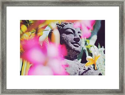 Stone Carved Statue Of Buddha Surrounded With Colorful Flowers Bali, Indonesia Framed Print