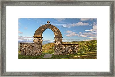 Stone Church In Autumn Framed Print
