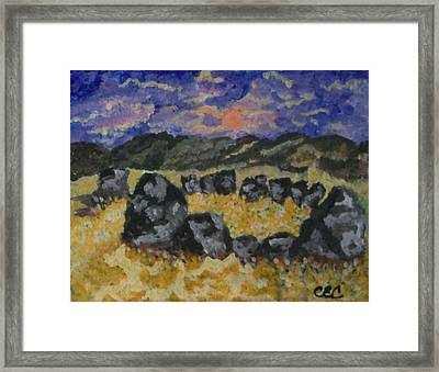 Framed Print featuring the painting Stone Circle by Carolyn Cable
