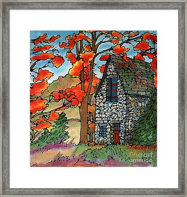Stone Cottage Silk Painting Framed Print by Linda Marcille