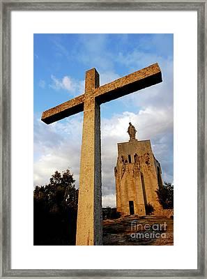 Stone Crucifix Framed Print by Sami Sarkis