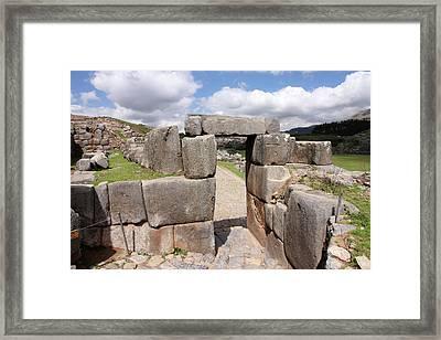 Framed Print featuring the photograph Stone Doorway At Sacsaywaman by Aidan Moran