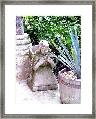 Framed Print featuring the photograph Stone Girl With Basket And Plants by Francesca Mackenney
