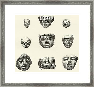 Stone Heads And Masks Found At Teotihuacan, Mexico Framed Print