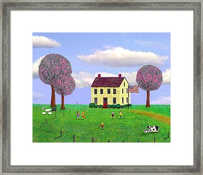 Stone House In Spring Framed Print by Paul Little