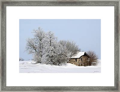 Stone House In Winter Framed Print by Gary Gunderson