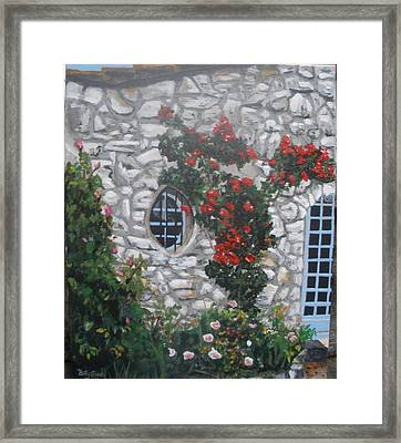 Framed Print featuring the painting Stone House Menton  France by Betty-Anne McDonald