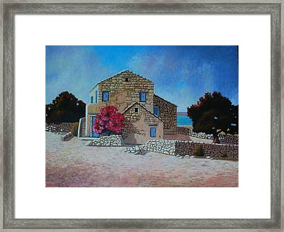 Stone House On The Beach Framed Print by Santo De Vita