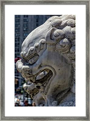 Stone Lions Chinatown Nyc Framed Print