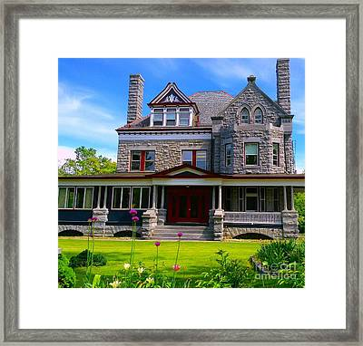 Framed Print featuring the photograph Stone Mansion Garden by Becky Lupe