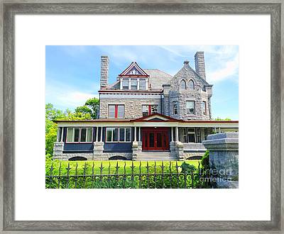 Framed Print featuring the photograph Stone Mansion Red Doors by Becky Lupe