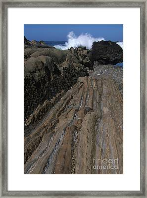 Stone Meets The Sea Framed Print by Stan and Anne Foster
