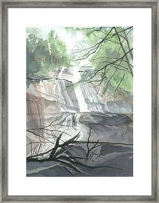 Framed Print featuring the painting Stone Mountain Falls - The Upper Cascade by Joel Deutsch