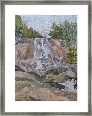 Framed Print featuring the painting Stone Mountain Falls April 2013 by Joel Deutsch