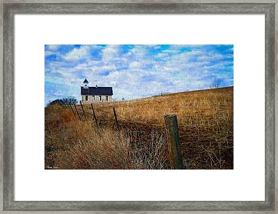 Stone Schoolhouse On The Kansas Prairie Framed Print