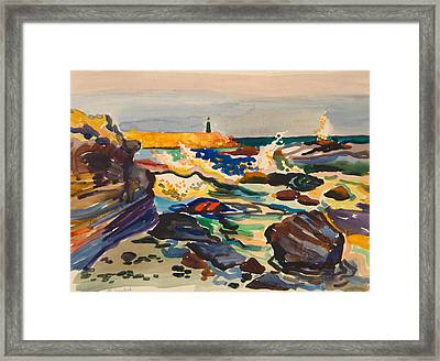 Stone Sea Cost With Lighthouse Framed Print by Vitali Komarov